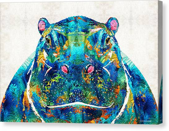 Hippos Canvas Print - Hippopotamus Art - Happy Hippo - By Sharon Cummings by Sharon Cummings