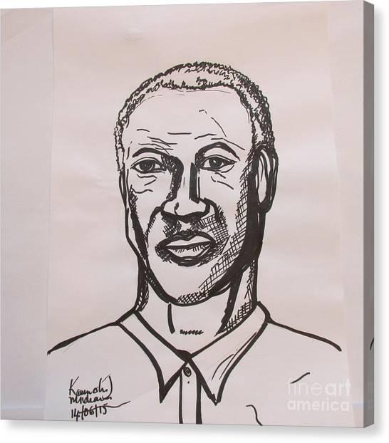 His Excellency Canvas Print - Sierra Leone Leaders In Sketch -  His Excellency President Ernest Bai Koroma  by Mudiama Kammoh