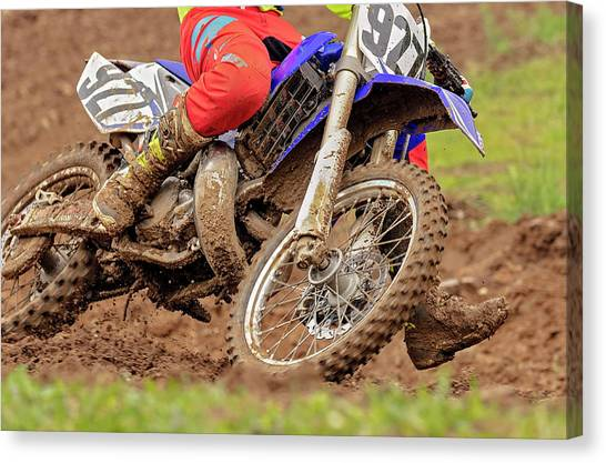 Motocross Canvas Print - His Name Is Mud by Pat Eisenberger