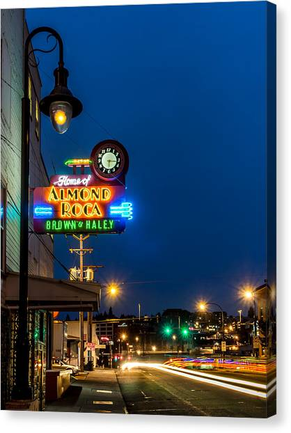 Historic Almond Roca Co. During Blue Hour Canvas Print