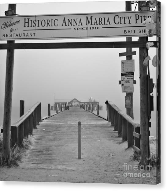 Historic Anna Maria City Pier In Fog Infrared 52 Canvas Print