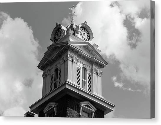 Canvas Print featuring the photograph Historic Courthouse Steeple In Bw by Doug Camara