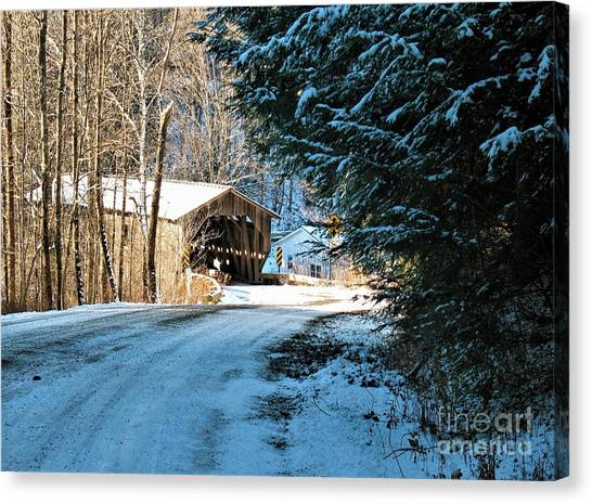Historic Grist Mill Covered Bridge Canvas Print