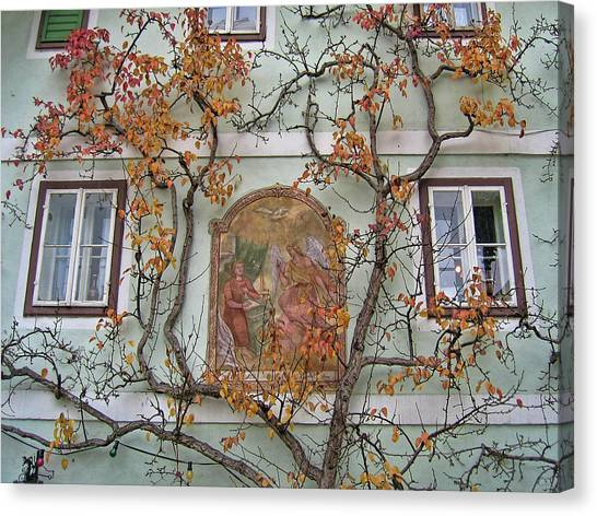 Historic House Facade In Bad Goisern Hallstatt Salzkammergut Aus Canvas Print