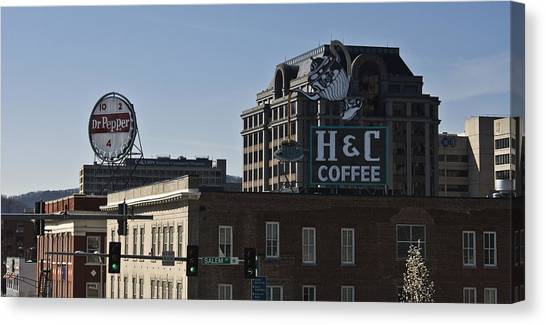 Dr. Pepper Canvas Print - Historic Landmark Signs Roanoke Virginia by Teresa Mucha