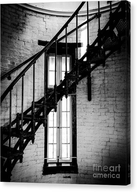 Historic Lighthouse Steps Canvas Print by JMerrickMedia
