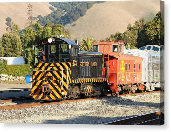 Old Caboose Canvas Print - Historic Niles Trains In California . Old Southern Pacific Locomotive And Sante Fe Caboose . 7d10821 by Wingsdomain Art and Photography
