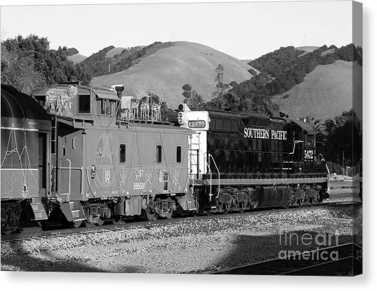 Old Caboose Canvas Print - Historic Niles Trains In California . Southern Pacific Locomotive And Sante Fe Caboose.7d10843.bw by Wingsdomain Art and Photography