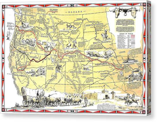 Historic Pioneer Trails Map 1843-1866 Canvas Print