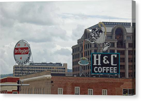 Dr. Pepper Canvas Print - Historic Roanoke Skyline by Suzanne Gaff