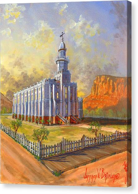 Southern Rock Canvas Print - Historic St. George Temple by Jeff Brimley