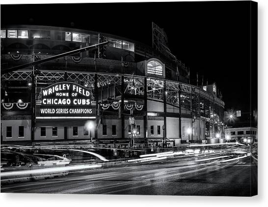 Chicago Cubs Canvas Print - Historic Wrigley Field by Andrew Soundarajan