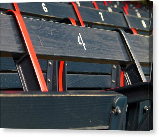 Historical Wood Seating At Boston Fenway Park Canvas Print