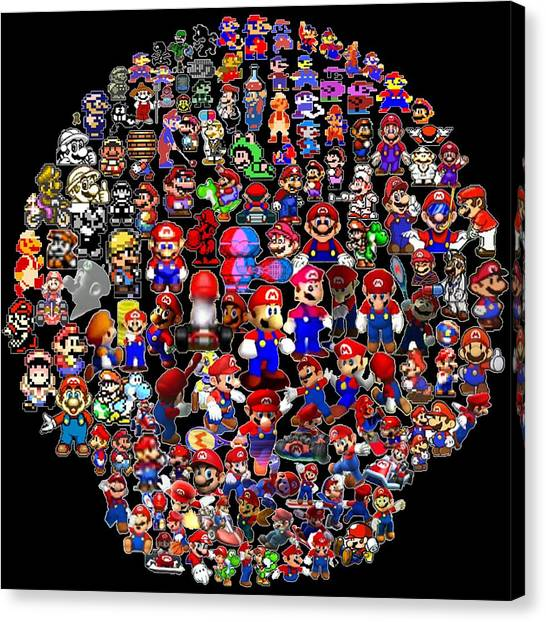 Super Mario Canvas Print - History Of Mario Mosaic by Paul Van Scott
