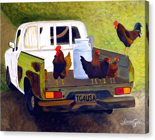 Hitchin' A Ride To Town Canvas Print by JoeRay Kelley