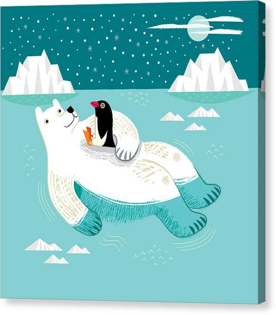 Penguins Canvas Print - Hitching A Ride by Oliver Lake