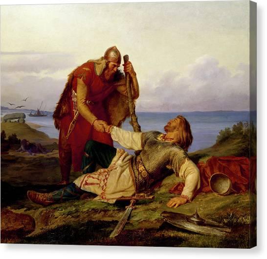 God Of War Canvas Print - Hjalmar Parting From Orvar Odd After The Fight On Samso by Marten Eskil Winge