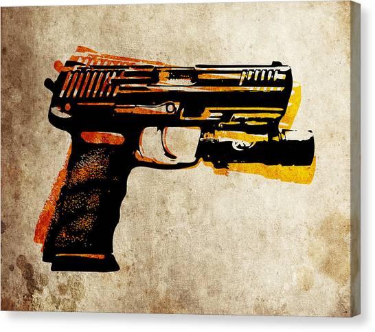 Gun Control Canvas Print - Hk 45 Pistol by Michael Tompsett