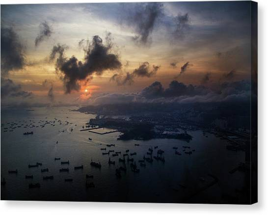 Canvas Print featuring the photograph HK by Lucian Capellaro