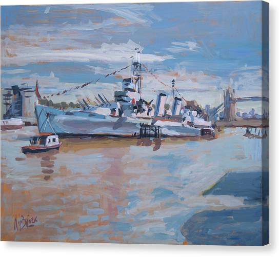 Briex Canvas Print - Hms Belfast Shows Off In The Sun by Nop Briex