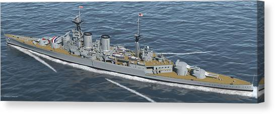 Hms Hood 1937 - Stern To Bow - Med Sea Canvas Print by Christopher Snook