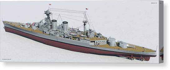 Hms Hood 1937 - Stern To Bow Tech Canvas Print by Christopher Snook