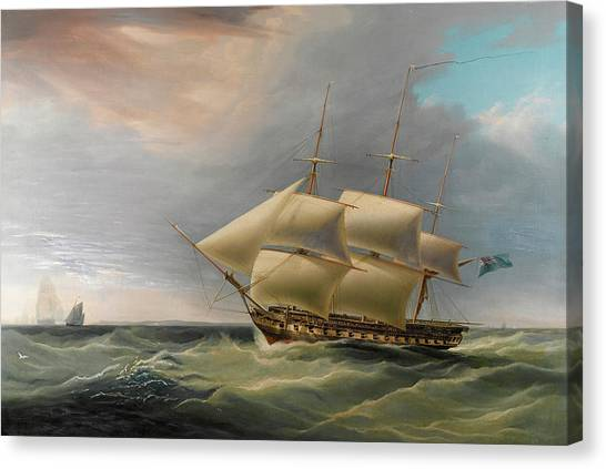 Royal Marines Canvas Print - H.m.s. Isis In Still Breeze by William John Huggins