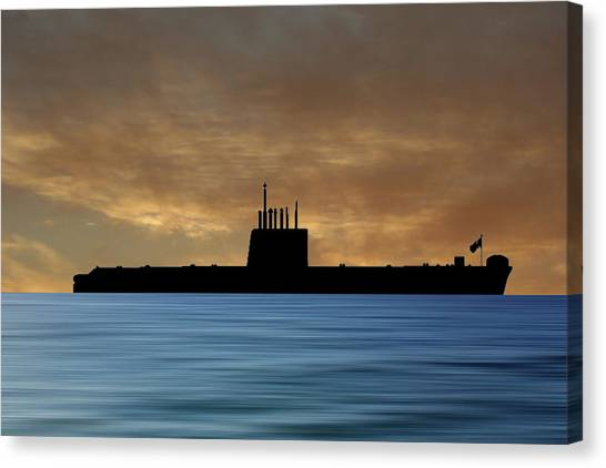 Submarine Canvas Print - Hms Oberon 1976 V2 by Smart Aviation