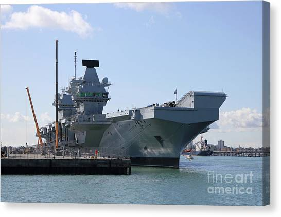 Hms Queen Elizabeth Aircraft Carrier At Portmouth Harbour Canvas Print