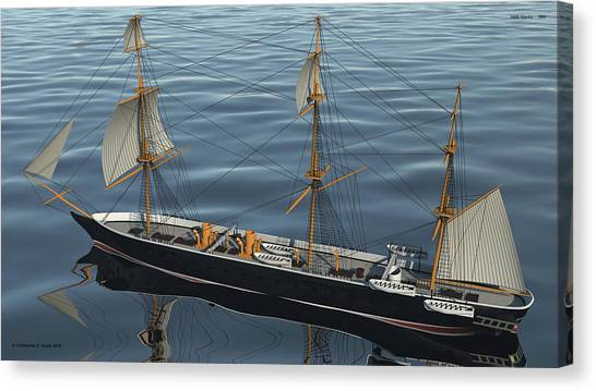 Hms Warrior 1860 - Stern To Bow Ocean Canvas Print by Christopher Snook