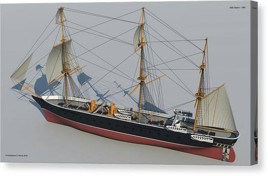 Hms Warrior 1860 - Stern To Bow Technical Canvas Print by Christopher Snook