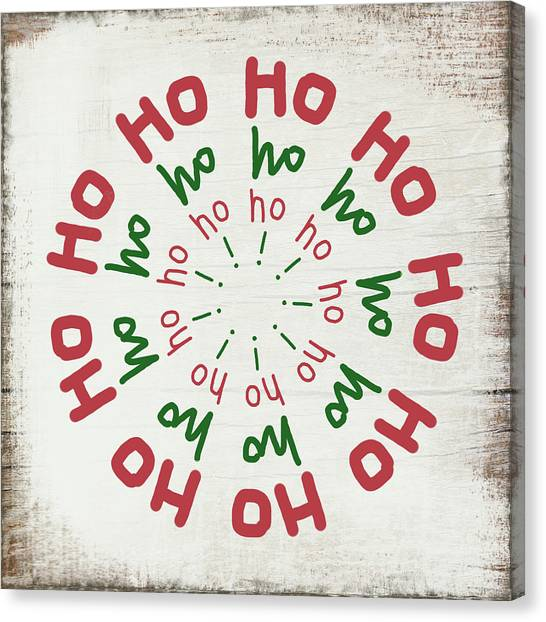 Wreath Canvas Print -  Ho Ho Ho Wreath- Art By Linda Woods by Linda Woods