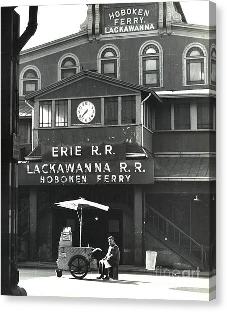 Hot Dogs Canvas Print - Hoboken Ferry C1966 by Erik Falkensteen