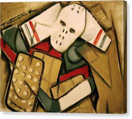 Synthetic Cubism Hockey Goalie Art Print Canvas Print