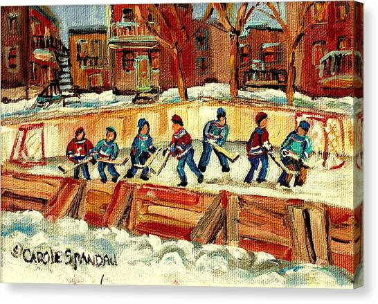Hockey Players Canvas Print - Hockey Rinks In Montreal by Carole Spandau