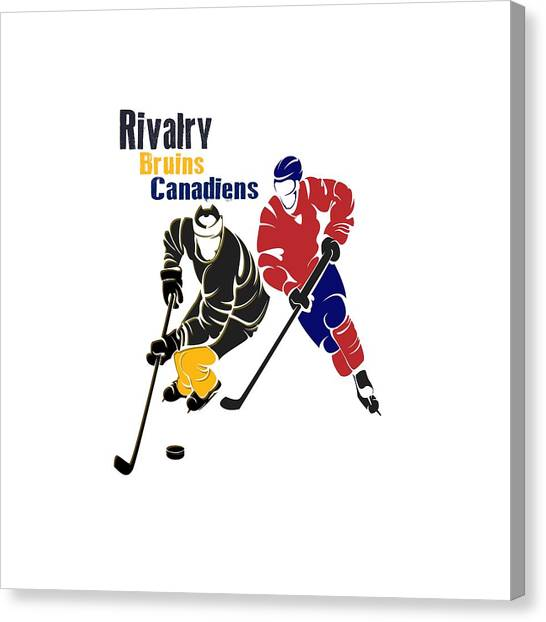 Boston Bruins Canvas Print - Hockey Rivalry Bruins Canadiens Shirt by Joe Hamilton