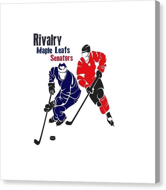Toronto Maple Leafs Canvas Print - Hockey Rivalry Maple Leafs Senators Shirt by Joe Hamilton