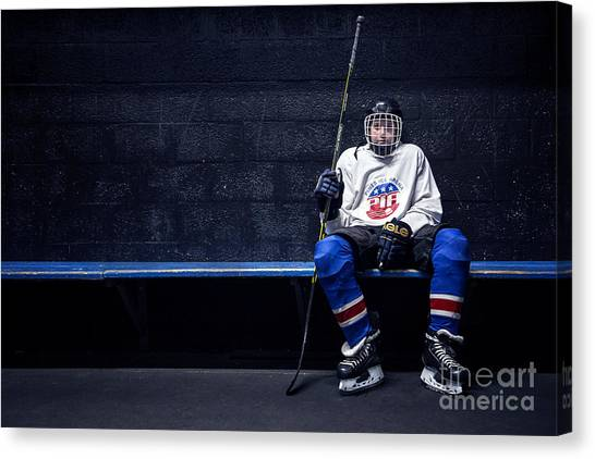 Hockey Players Canvas Print - Hockey Strong by Evelina Kremsdorf