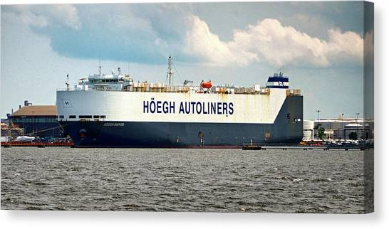 Canvas Print featuring the photograph Hoegh Autoliners Heogh Maputo 9431850 At Curtis Bay by Bill Swartwout Fine Art Photography