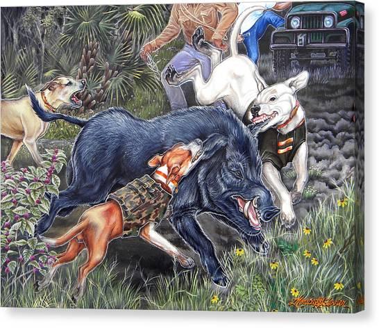 Hogs Canvas Print - Hog Hammock Earrings by Monica Turner