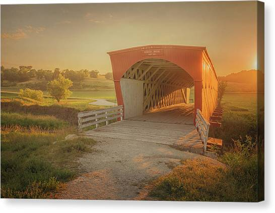 Canvas Print featuring the photograph Hogback Covered Bridge by Susan Rissi Tregoning