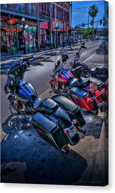 Classic Cycle Canvas Print - Hogs On 7th Ave by Marvin Spates