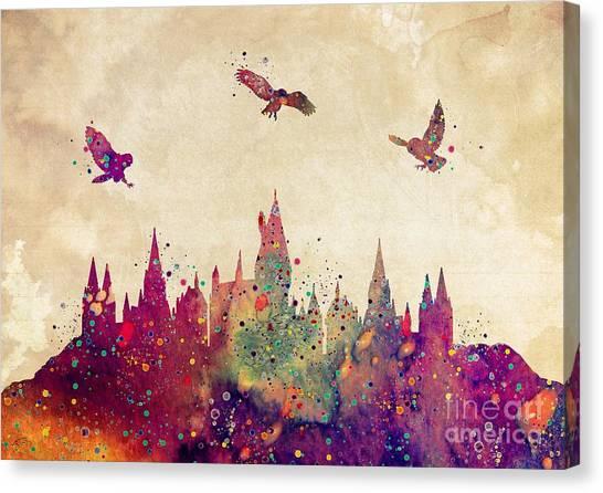 Harry Potter Canvas Print - Hogwarts Castle Watercolor Art Print by Svetla Tancheva