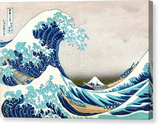 Mount Fuji Canvas Print - Hokusai Great Wave Off Kanagawa by Katsushika Hokusai