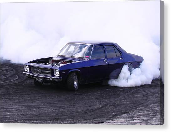 Holden Belmont With 454 Chev Doing A Burnout Canvas Print by Stephen Athea