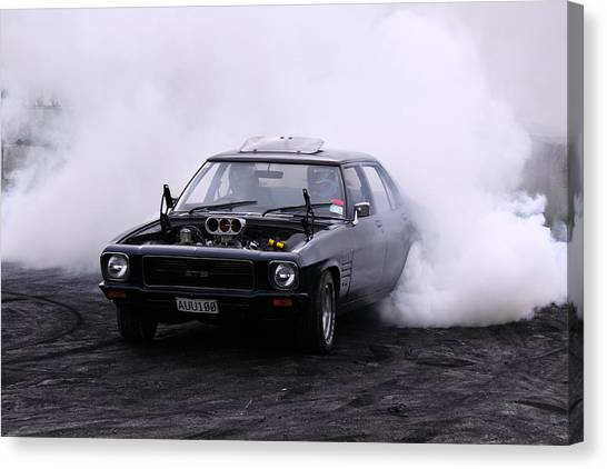 Holden Monaro Doing A Burnout Canvas Print by Stephen Athea
