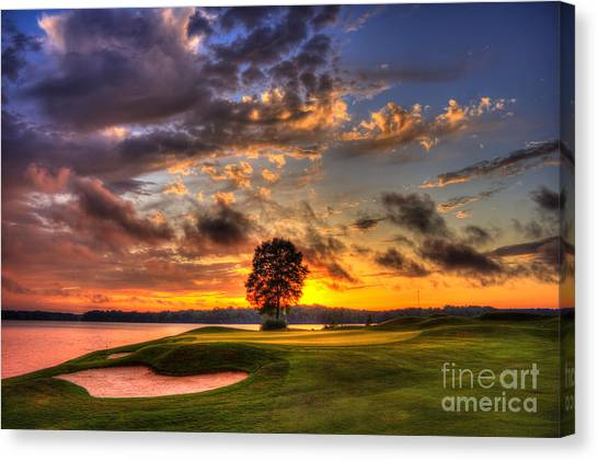Jack Nicklaus Canvas Print - Hole In One Golf Sunset  by Reid Callaway