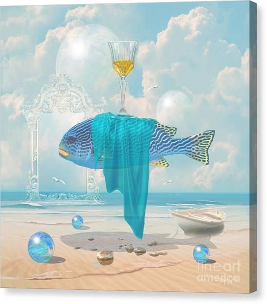 Canvas Print featuring the digital art Holiday At The Seaside by Alexa Szlavics