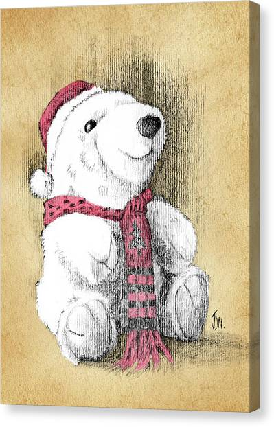 Holiday Bear Card Canvas Print