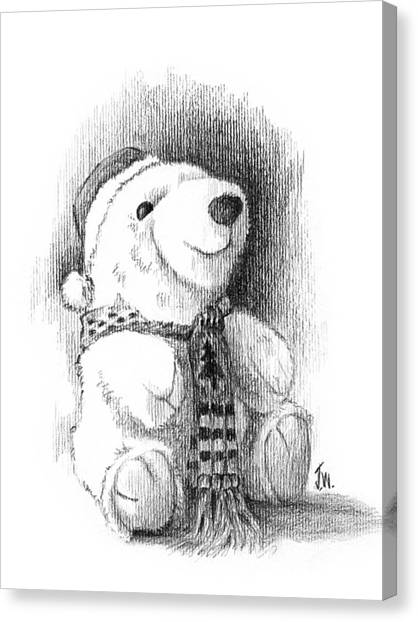 Canvas Print featuring the drawing Holiday Bear by Joe Winkler